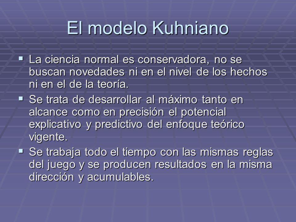 El modelo Kuhniano La ciencia normal es conservadora, no se buscan novedades ni en el nivel de los hechos ni en el de la teoría. La ciencia normal es