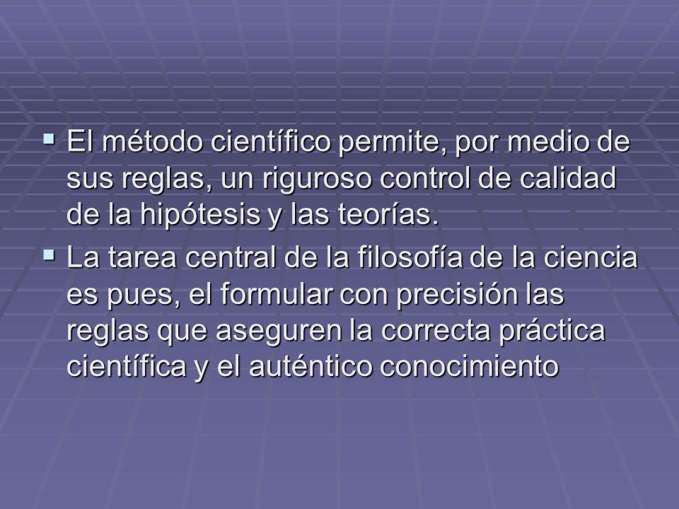 El método científico permite, por medio de sus reglas, un riguroso control de calidad de la hipótesis y las teorías. El método científico permite, por
