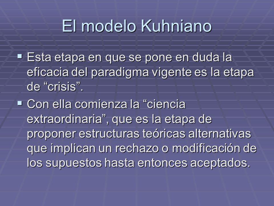 El modelo Kuhniano Esta etapa en que se pone en duda la eficacia del paradigma vigente es la etapa de crisis. Esta etapa en que se pone en duda la efi