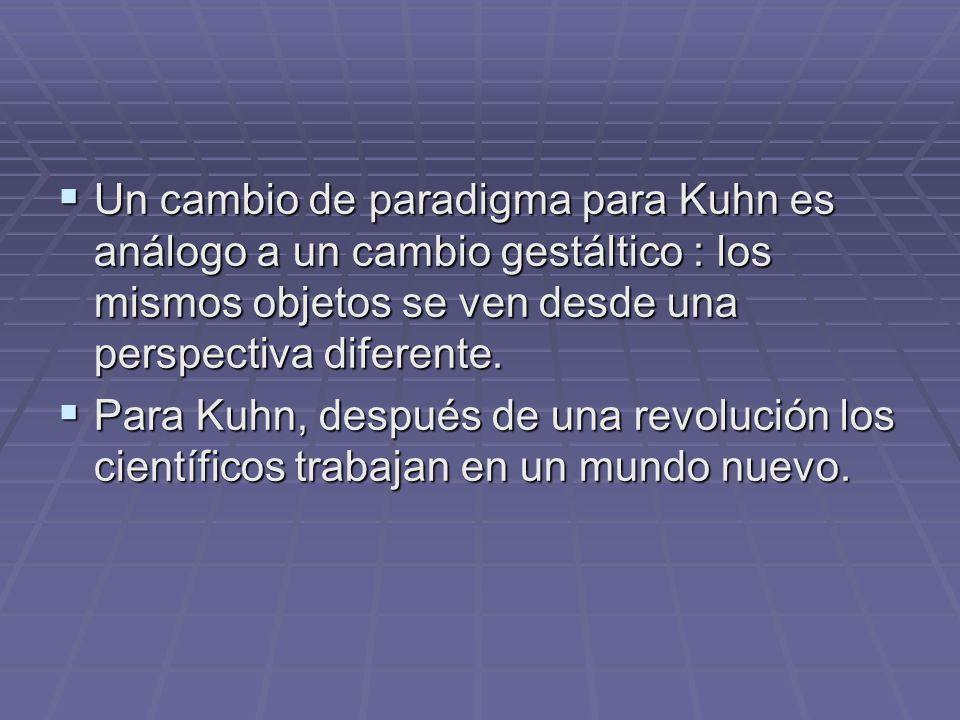 Un cambio de paradigma para Kuhn es análogo a un cambio gestáltico : los mismos objetos se ven desde una perspectiva diferente. Un cambio de paradigma
