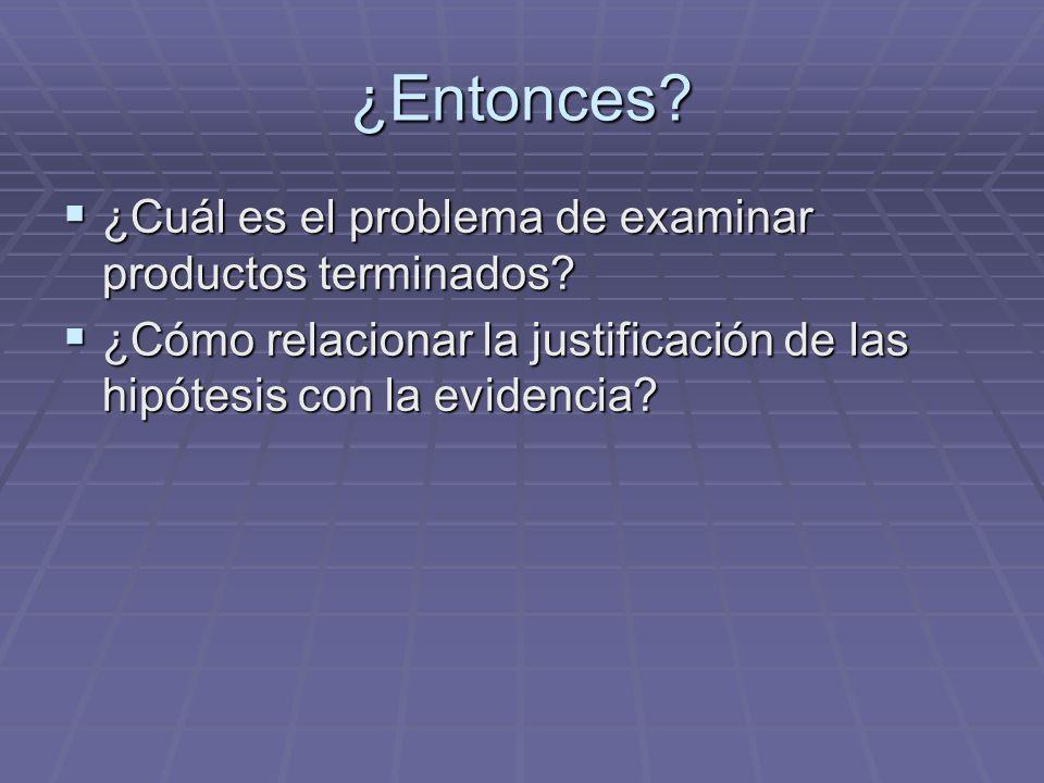 ¿Entonces? ¿Cuál es el problema de examinar productos terminados? ¿Cuál es el problema de examinar productos terminados? ¿Cómo relacionar la justifica