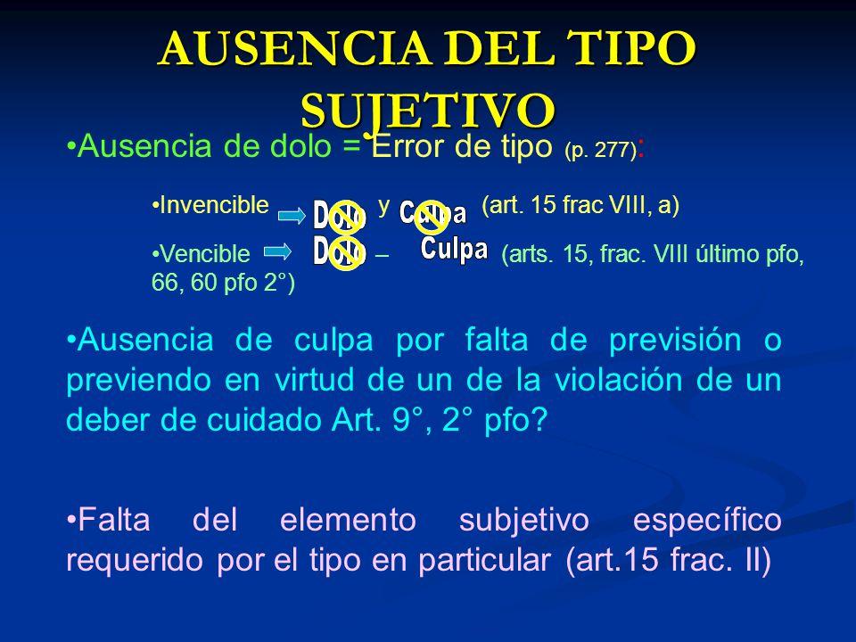 AUSENCIA DEL TIPO SUJETIVO Ausencia de dolo = Error de tipo (p. 277) : Invencible y (art. 15 frac VIII, a) Vencible – (arts. 15, frac. VIII último pfo