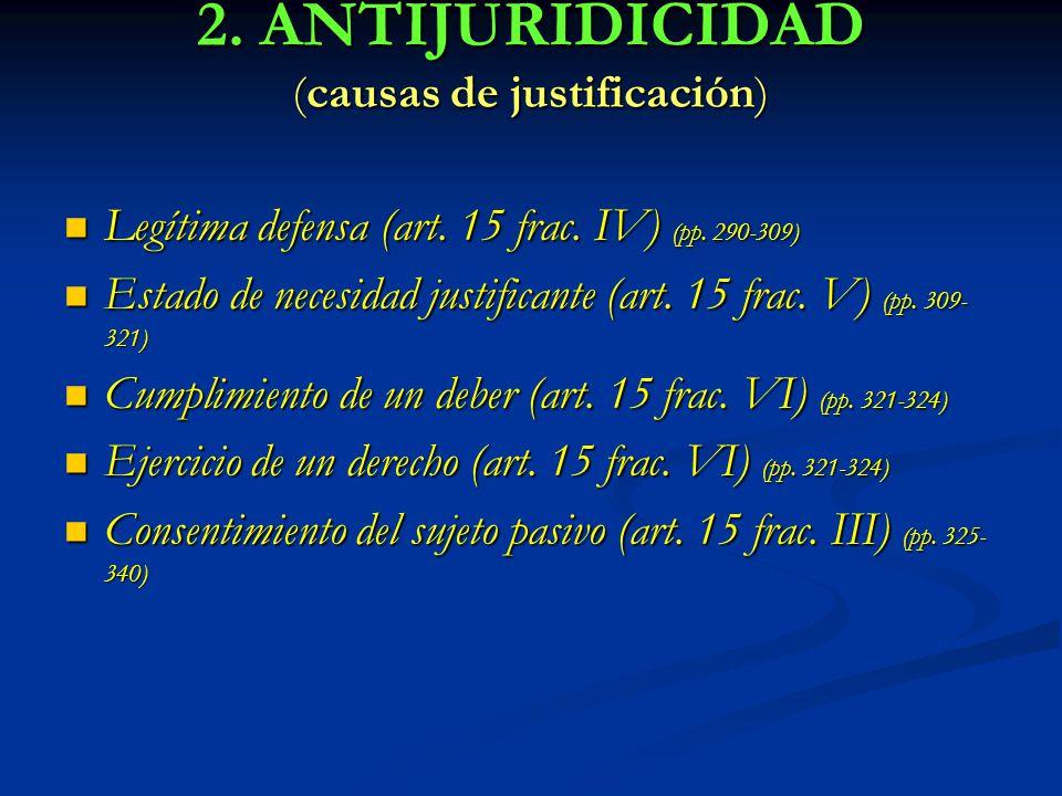 2. ANTIJURIDICIDAD (causas de justificación) Legítima defensa (art. 15 frac. IV) (pp. 290-309) Legítima defensa (art. 15 frac. IV) (pp. 290-309) Estad