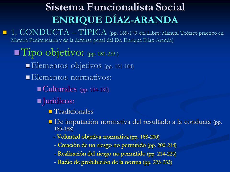 Sistema Funcionalista Social ENRIQUE DÍAZ-ARANDA 1. CONDUCTA – TÍPICA (pp. 169-179 del Libro: Manual Teórico practico en Materia Penitenciaria y de la