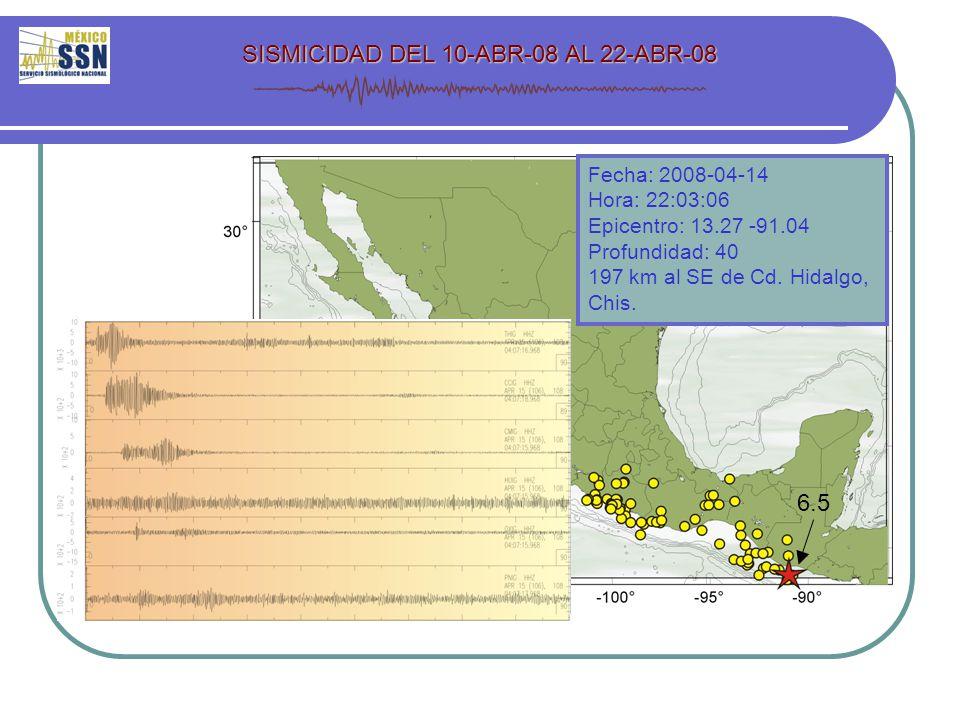 SISMICIDAD DEL 10-ABR-08 AL 22-ABR-08 6.5 Fecha: 2008-04-14 Hora: 22:03:06 Epicentro: 13.27 -91.04 Profundidad: 40 197 km al SE de Cd.