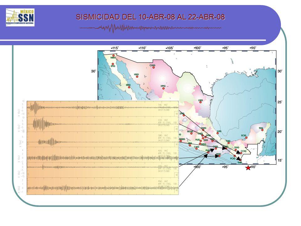 SISMICIDAD DEL 10-ABR-08 AL 22-ABR-08