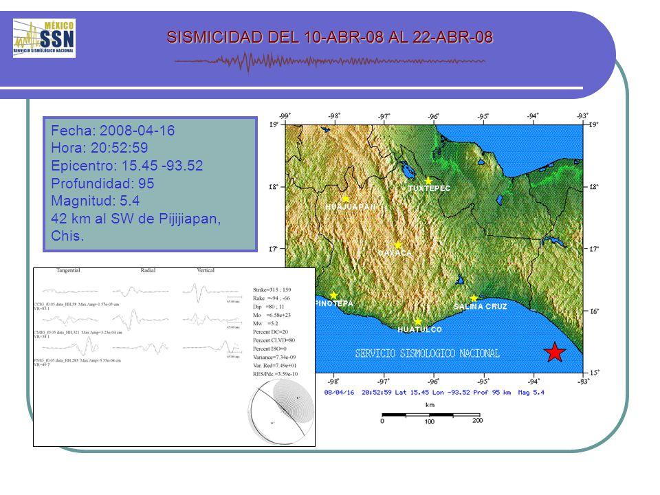 Fecha: 2008-04-16 Hora: 20:52:59 Epicentro: 15.45 -93.52 Profundidad: 95 Magnitud: 5.4 42 km al SW de Pijijiapan, Chis.