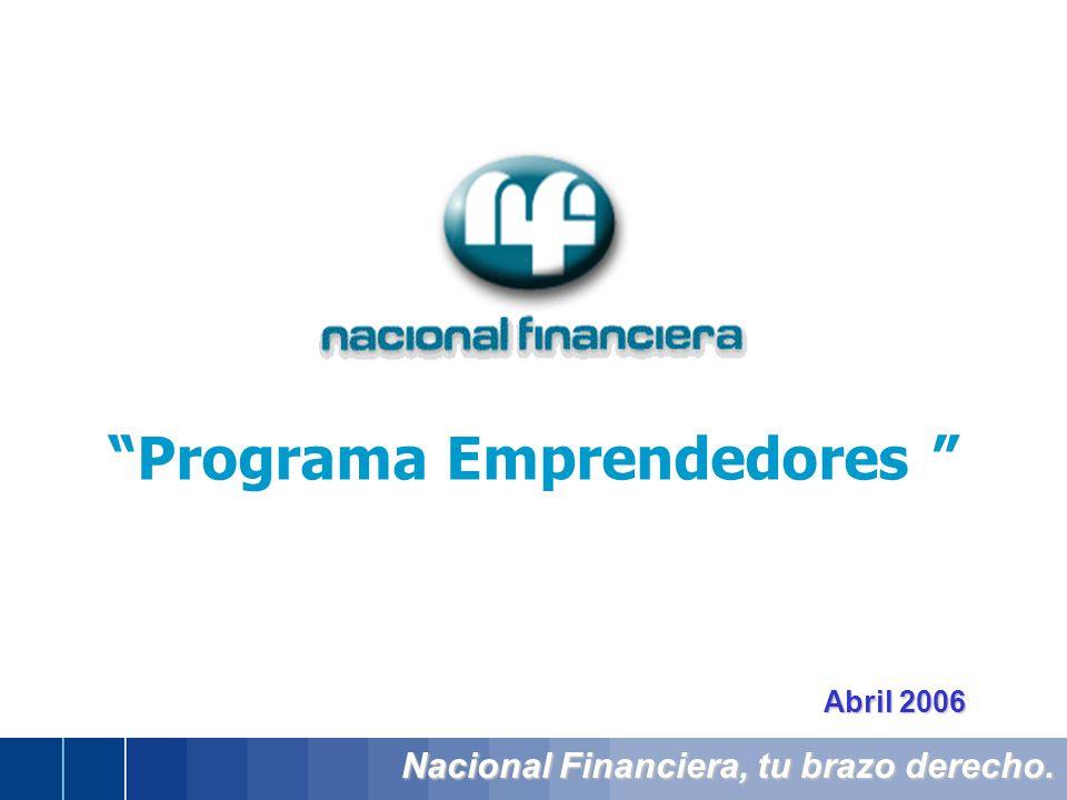 Nacional Financiera, tu brazo derecho. Abril 2006 Programa Emprendedores