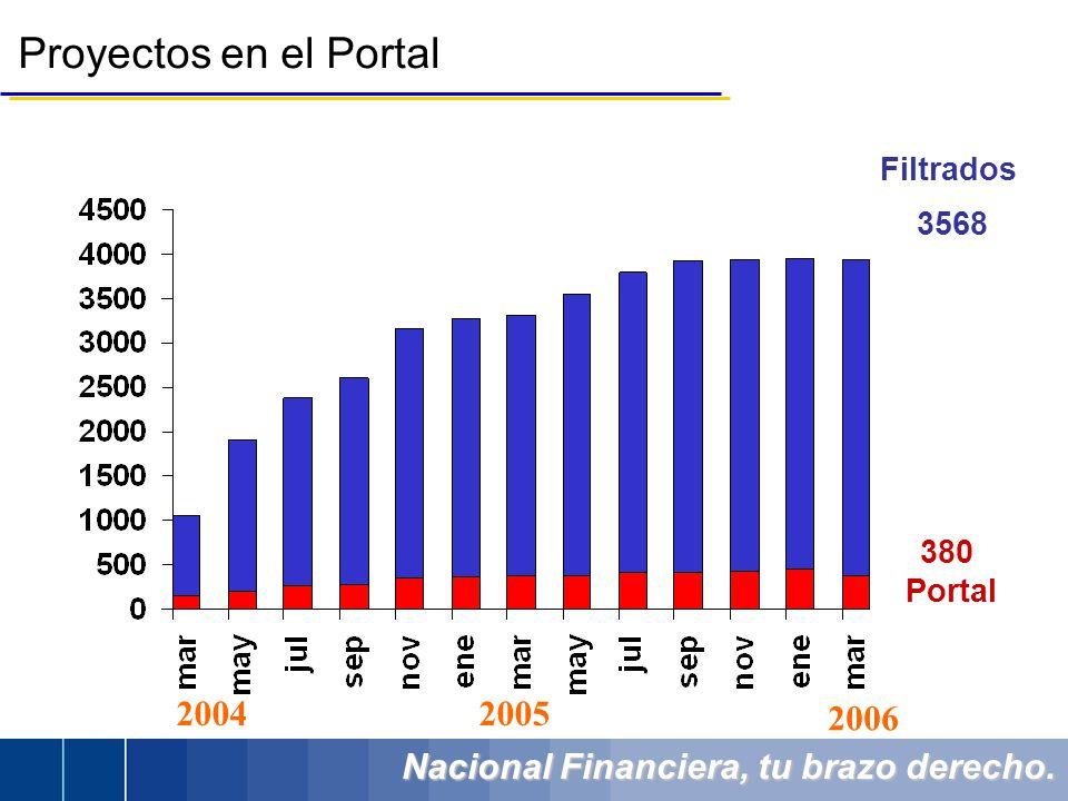 Nacional Financiera, tu brazo derecho. Proyectos en el Portal Filtrados 3568 380 Portal 20042005 2006