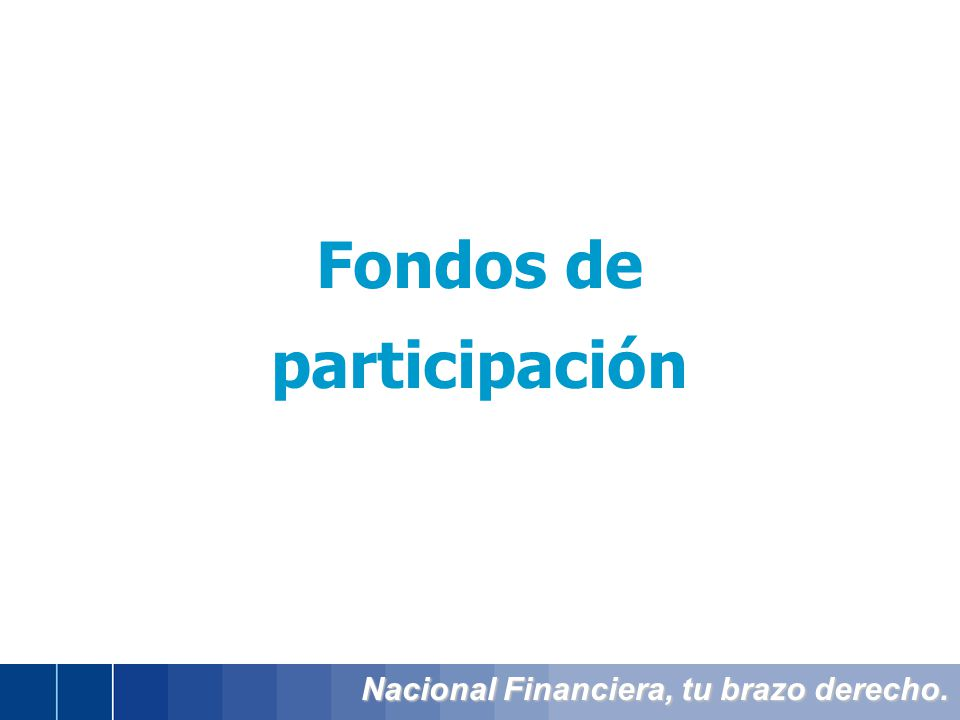 Nacional Financiera, tu brazo derecho. Fondos de participación