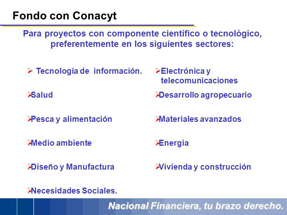 Nacional Financiera, tu brazo derecho. Para proyectos con componente científico o tecnológico, preferentemente en los siguientes sectores: Tecnología