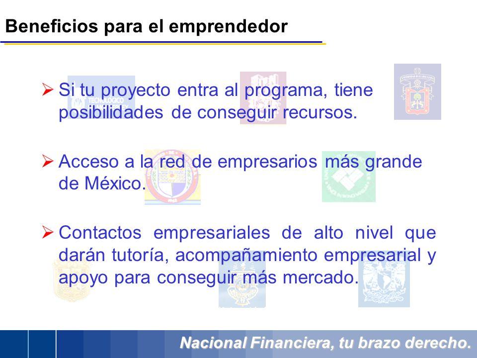 Nacional Financiera, tu brazo derecho. Beneficios para el emprendedor Si tu proyecto entra al programa, tiene posibilidades de conseguir recursos. Acc