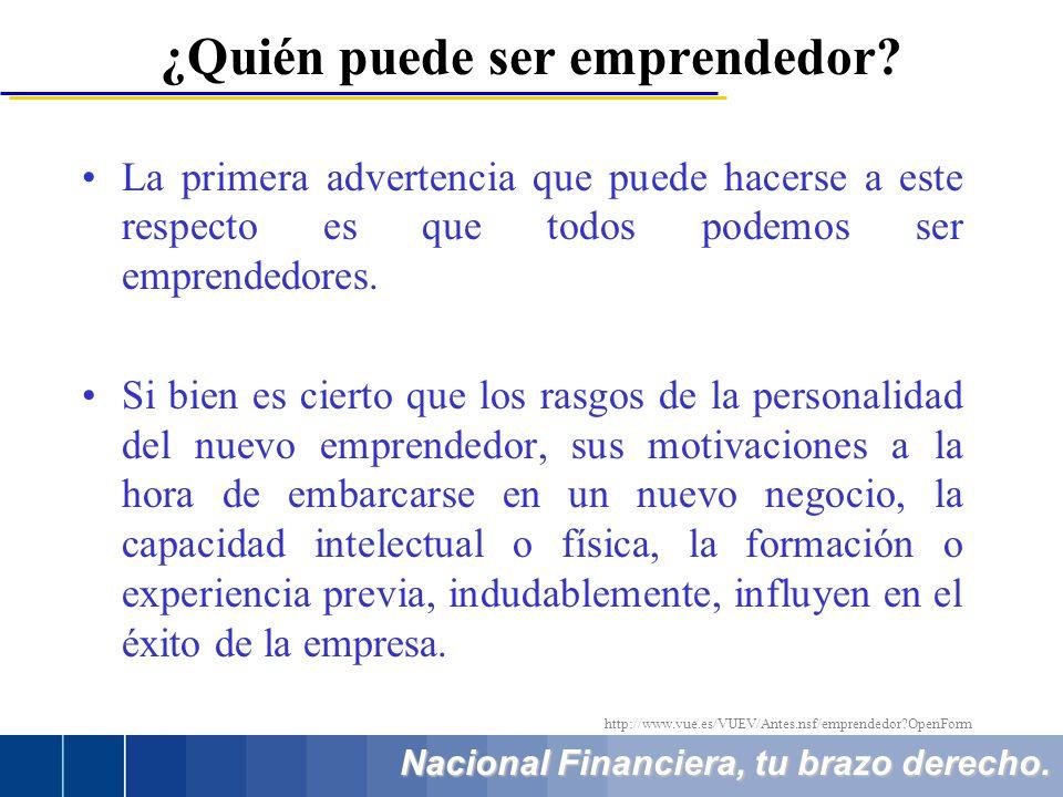Nacional Financiera, tu brazo derecho. ¿Quién puede ser emprendedor? La primera advertencia que puede hacerse a este respecto es que todos podemos ser