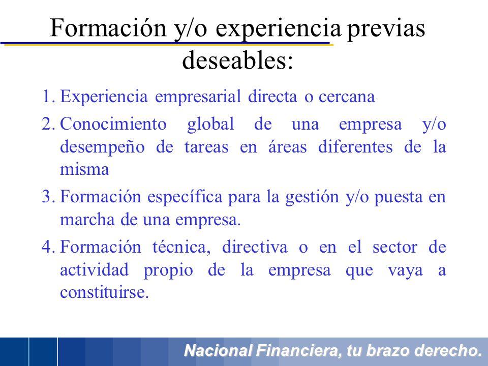 Nacional Financiera, tu brazo derecho. 1.Experiencia empresarial directa o cercana 2.Conocimiento global de una empresa y/o desempeño de tareas en áre