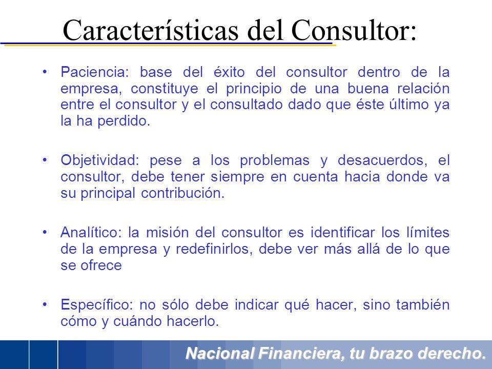 Nacional Financiera, tu brazo derecho. Paciencia: base del éxito del consultor dentro de la empresa, constituye el principio de una buena relación ent