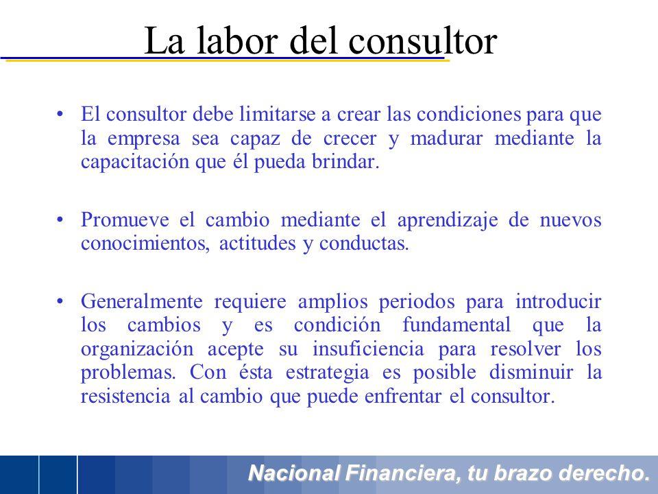 Nacional Financiera, tu brazo derecho. El consultor debe limitarse a crear las condiciones para que la empresa sea capaz de crecer y madurar mediante