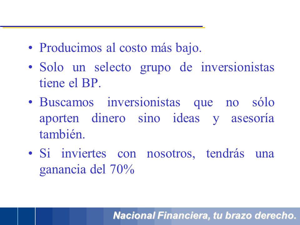 Nacional Financiera, tu brazo derecho. Producimos al costo más bajo. Solo un selecto grupo de inversionistas tiene el BP. Buscamos inversionistas que