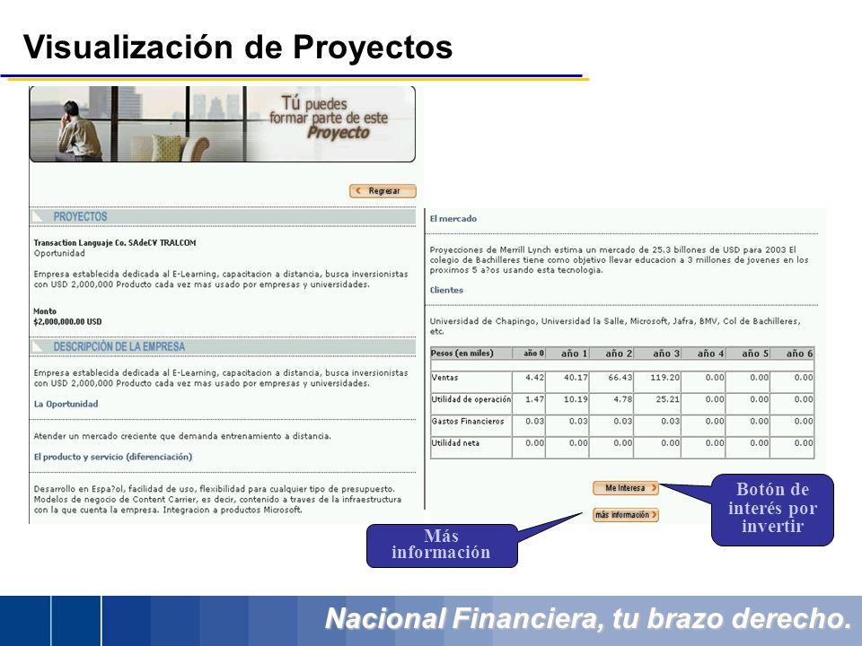 Nacional Financiera, tu brazo derecho. Visualización de Proyectos Botón de interés por invertir Más información