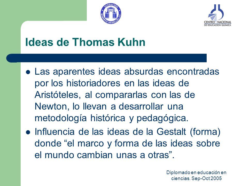 Diplomado en educación en ciencias. Sep-Oct 2005 Ideas de Thomas Kuhn Las aparentes ideas absurdas encontradas por los historiadores en las ideas de A