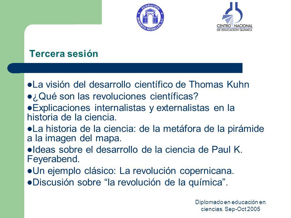 Diplomado en educación en ciencias. Sep-Oct 2005 Tercera sesión La visión del desarrollo científico de Thomas Kuhn ¿Qué son las revoluciones científic