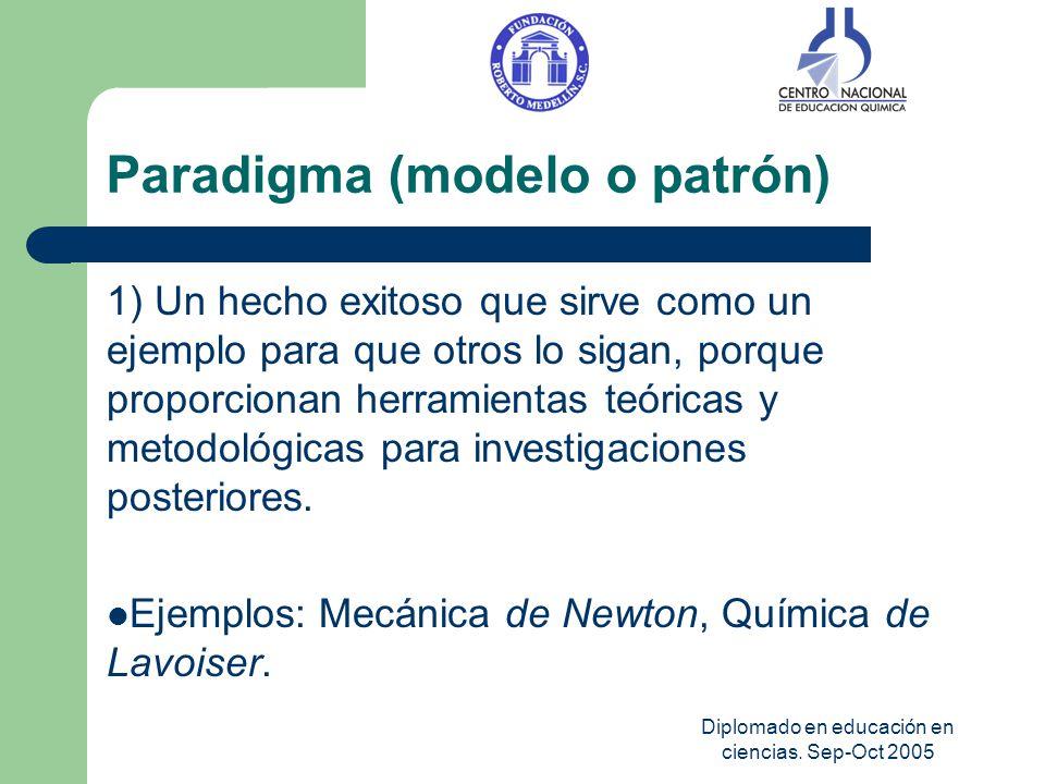 Diplomado en educación en ciencias. Sep-Oct 2005 Paradigma (modelo o patrón) 1) Un hecho exitoso que sirve como un ejemplo para que otros lo sigan, po