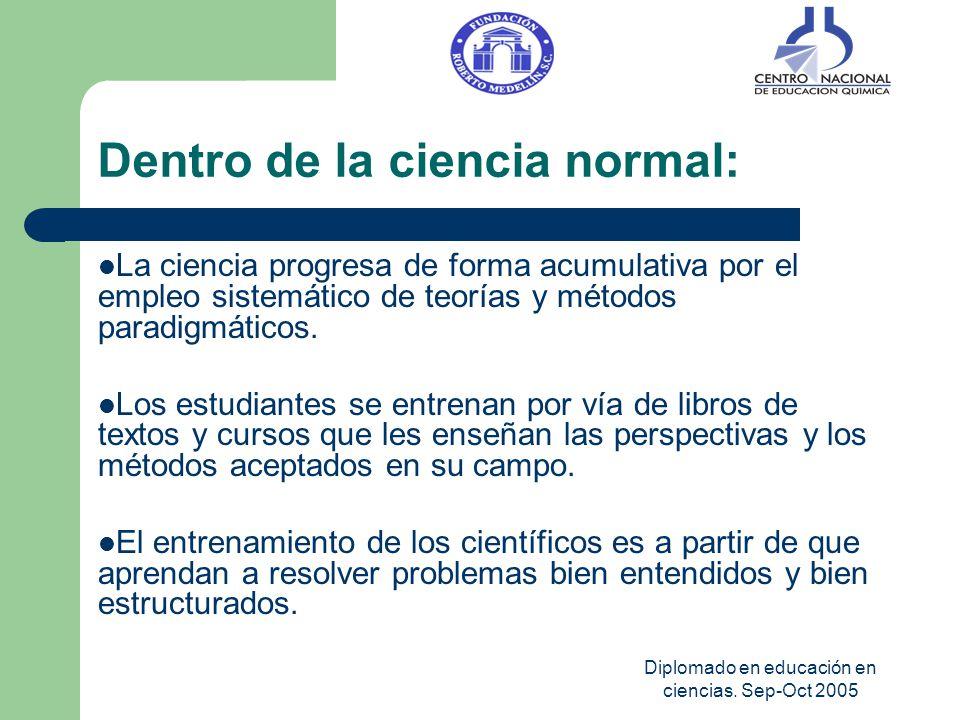 Diplomado en educación en ciencias. Sep-Oct 2005 Dentro de la ciencia normal: La ciencia progresa de forma acumulativa por el empleo sistemático de te