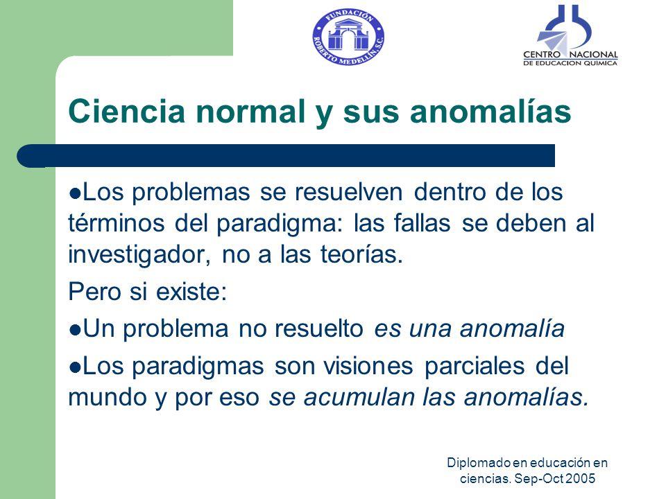Diplomado en educación en ciencias. Sep-Oct 2005 Ciencia normal y sus anomalías Los problemas se resuelven dentro de los términos del paradigma: las f