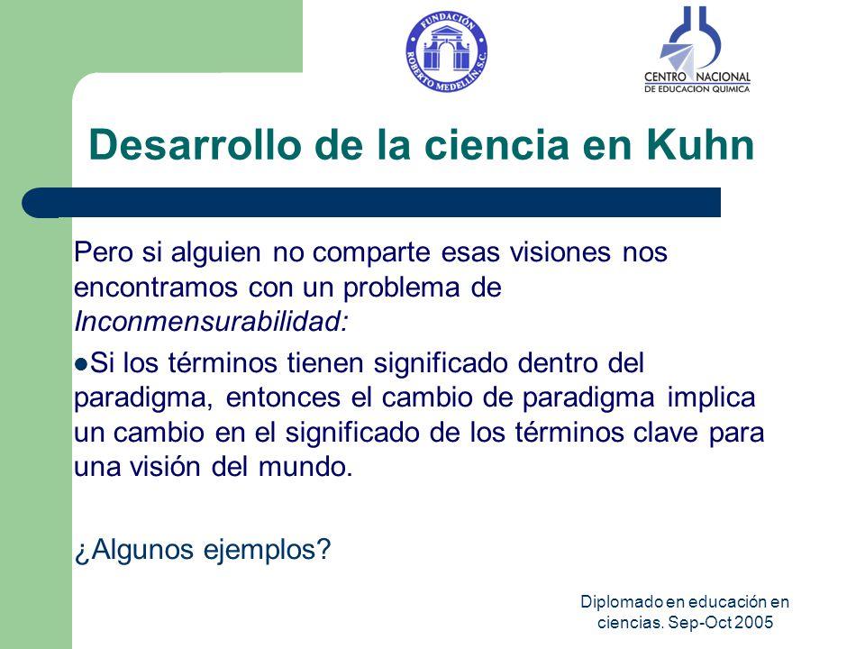 Diplomado en educación en ciencias. Sep-Oct 2005 Desarrollo de la ciencia en Kuhn Pero si alguien no comparte esas visiones nos encontramos con un pro