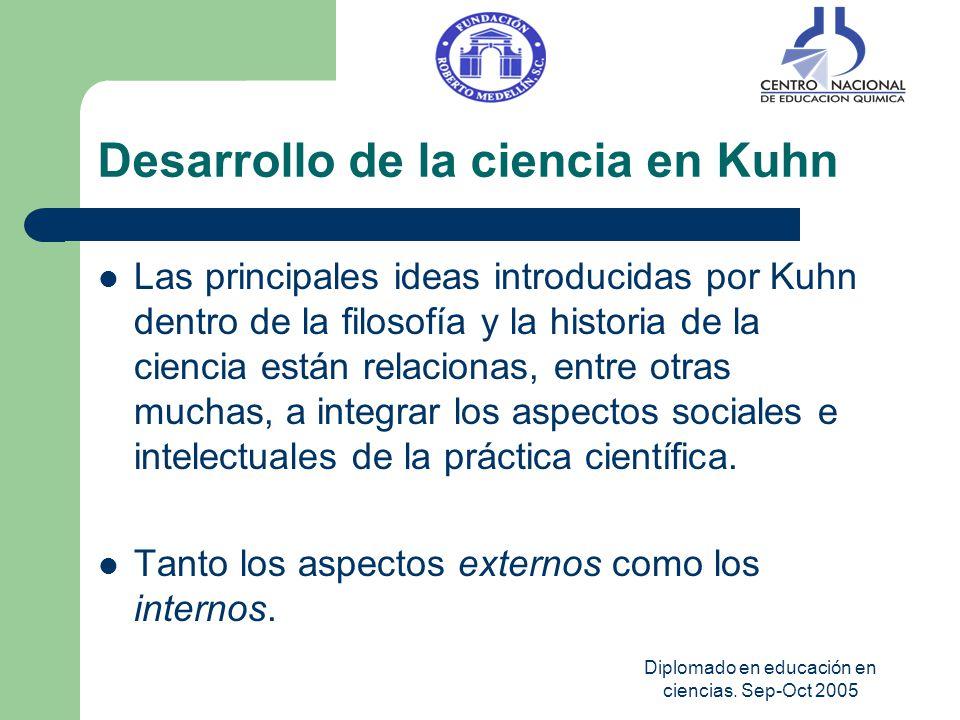 Diplomado en educación en ciencias. Sep-Oct 2005 Desarrollo de la ciencia en Kuhn Las principales ideas introducidas por Kuhn dentro de la filosofía y