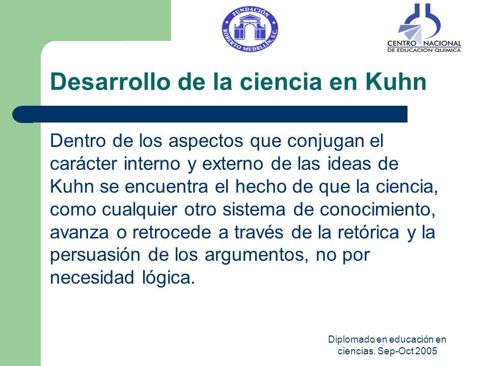 Diplomado en educación en ciencias. Sep-Oct 2005 Desarrollo de la ciencia en Kuhn Dentro de los aspectos que conjugan el carácter interno y externo de