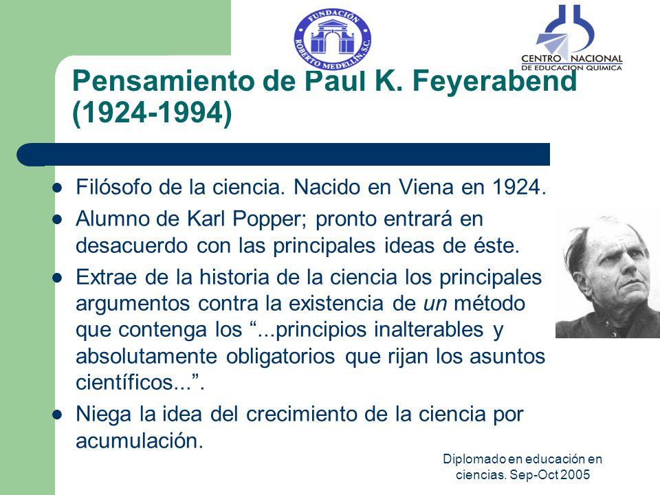 Diplomado en educación en ciencias. Sep-Oct 2005 Pensamiento de Paul K. Feyerabend (1924-1994) Filósofo de la ciencia. Nacido en Viena en 1924. Alumno