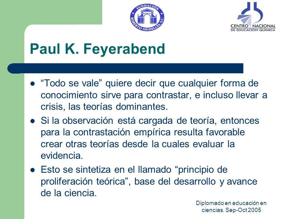 Diplomado en educación en ciencias. Sep-Oct 2005 Paul K. Feyerabend Todo se vale quiere decir que cualquier forma de conocimiento sirve para contrasta