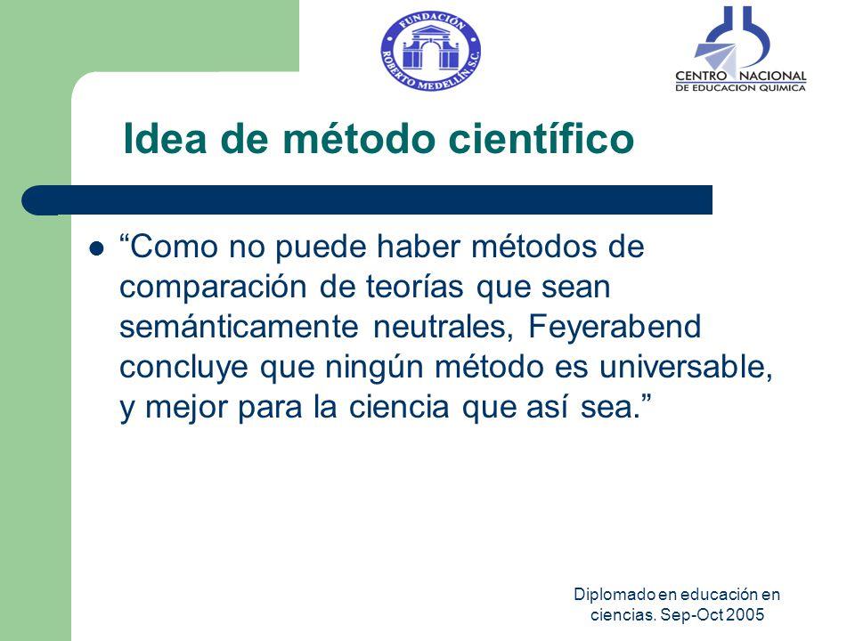 Diplomado en educación en ciencias. Sep-Oct 2005 Como no puede haber métodos de comparación de teorías que sean semánticamente neutrales, Feyerabend c