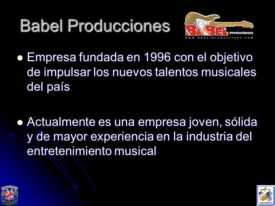 Babel Producciones Empresa fundada en 1996 con el objetivo de impulsar los nuevos talentos musicales del país Empresa fundada en 1996 con el objetivo de impulsar los nuevos talentos musicales del país Actualmente es una empresa joven, sólida y de mayor experiencia en la industria del entretenimiento musical Actualmente es una empresa joven, sólida y de mayor experiencia en la industria del entretenimiento musical