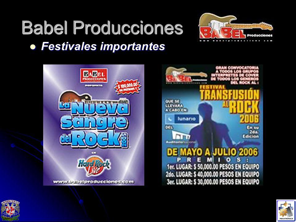 Babel Producciones Festivales importantes Festivales importantes