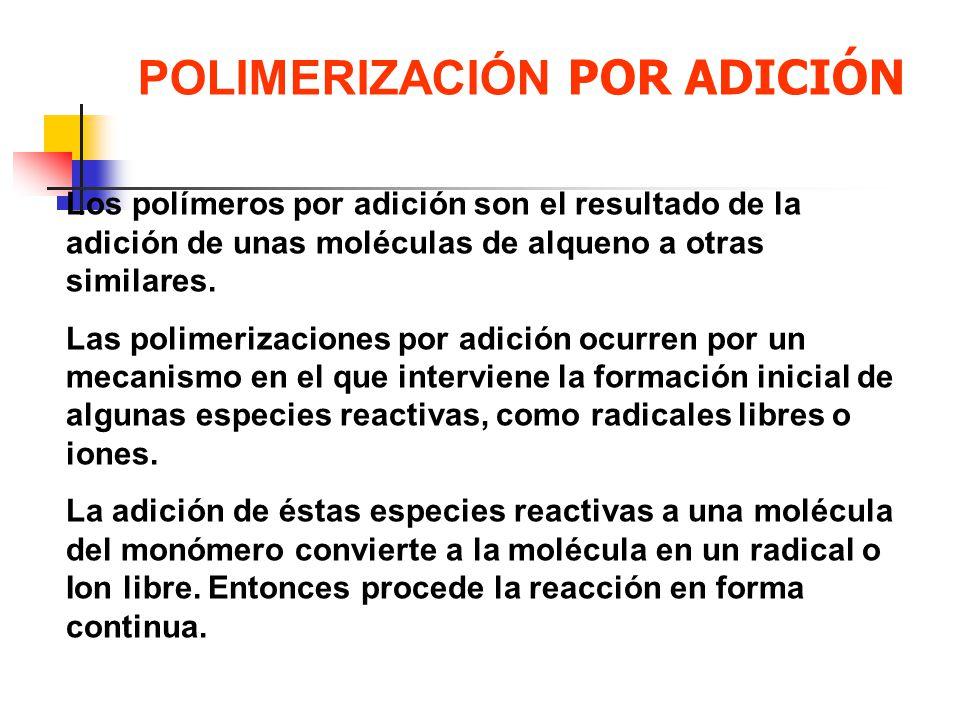 Los polímeros por adición son el resultado de la adición de unas moléculas de alqueno a otras similares. Las polimerizaciones por adición ocurren por