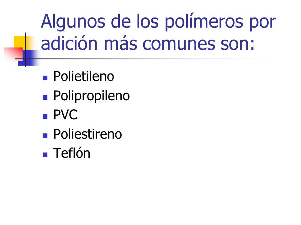 Algunos de los polímeros por adición más comunes son: Polietileno Polipropileno PVC Poliestireno Teflón