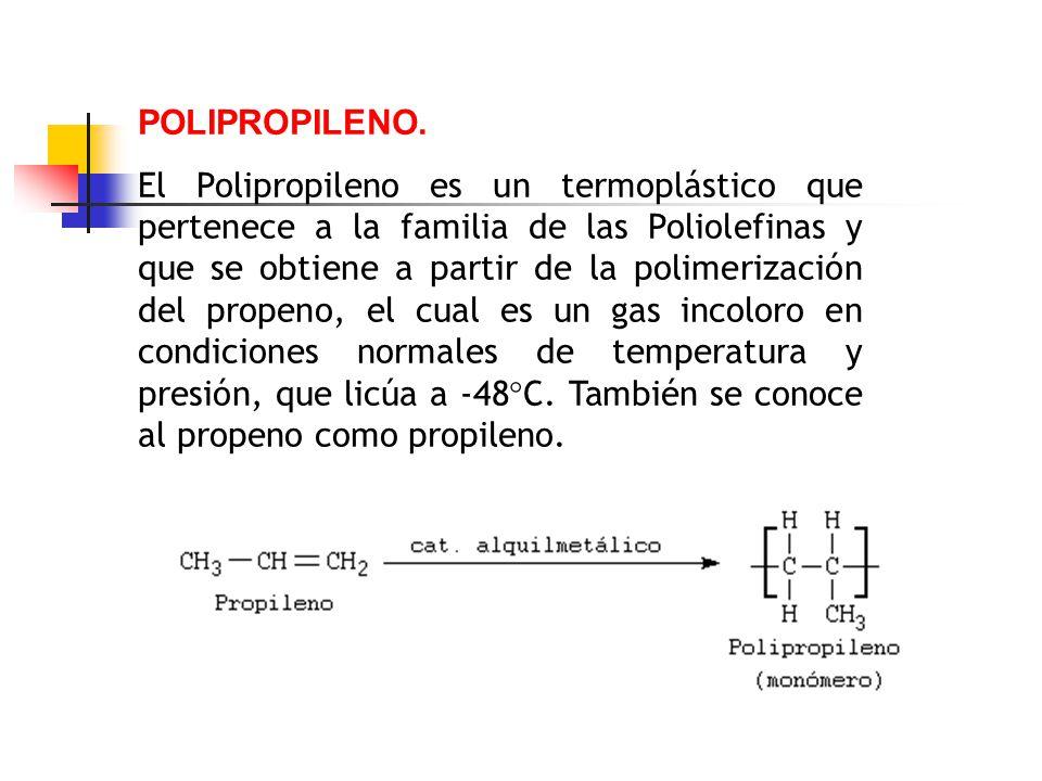 POLIPROPILENO. El Polipropileno es un termoplástico que pertenece a la familia de las Poliolefinas y que se obtiene a partir de la polimerización del