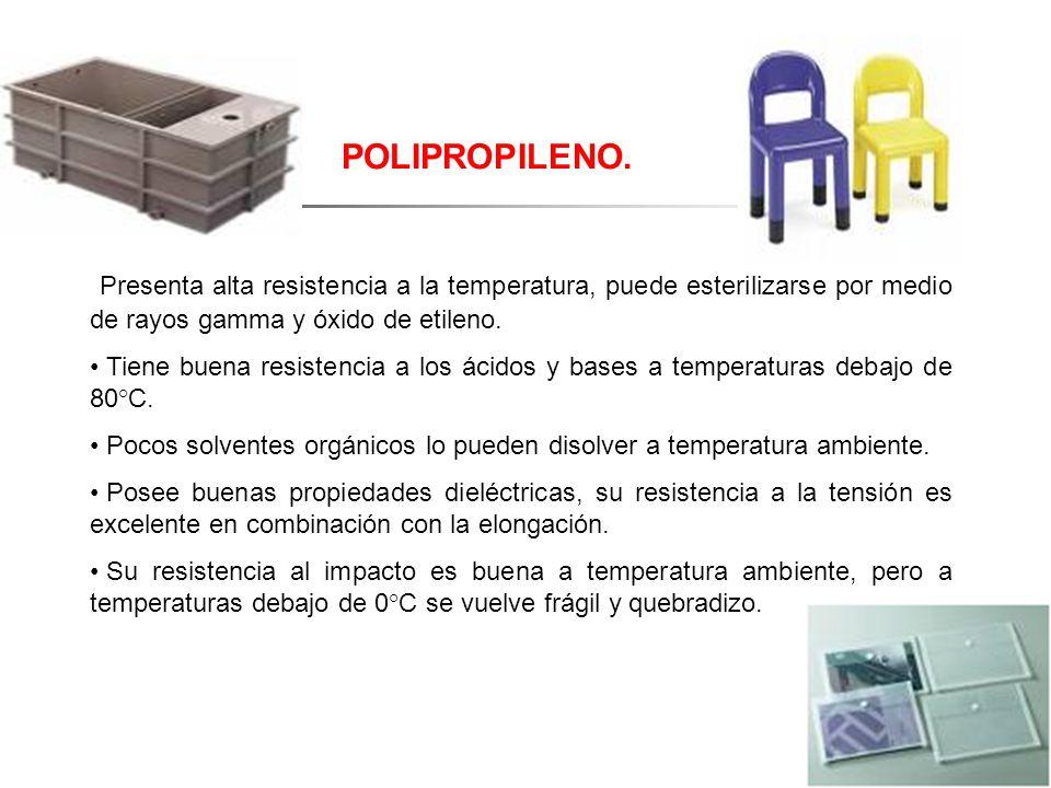 POLIPROPILENO. Presenta alta resistencia a la temperatura, puede esterilizarse por medio de rayos gamma y óxido de etileno. Tiene buena resistencia a