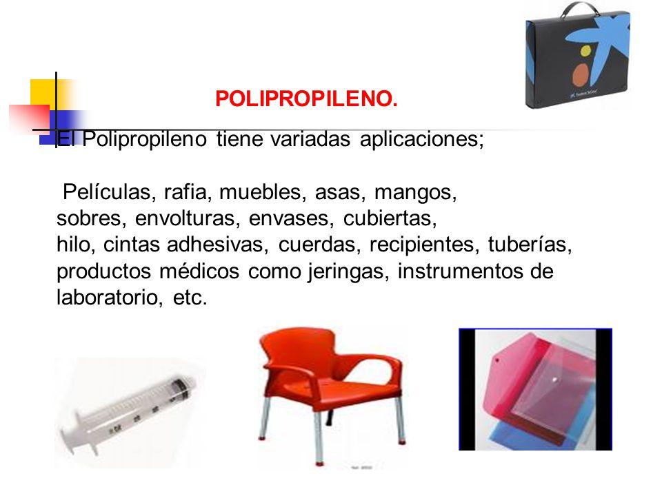 POLIPROPILENO. El Polipropileno tiene variadas aplicaciones; Películas, rafia, muebles, asas, mangos, sobres, envolturas, envases, cubiertas, hilo, ci