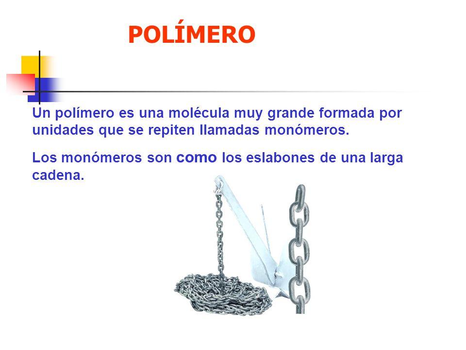 Un polímero es una molécula muy grande formada por unidades que se repiten llamadas monómeros. Los monómeros son como los eslabones de una larga caden