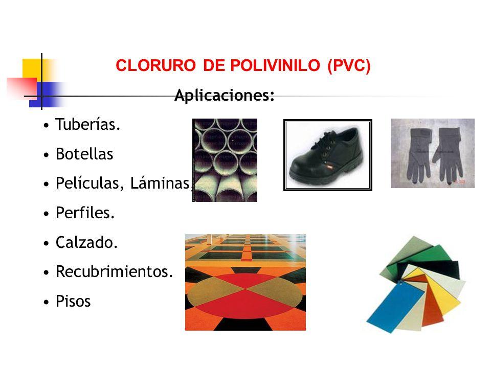 CLORURO DE POLIVINILO (PVC) Aplicaciones: Tuberías. Botellas Películas, Láminas, Perfiles. Calzado. Recubrimientos. Pisos