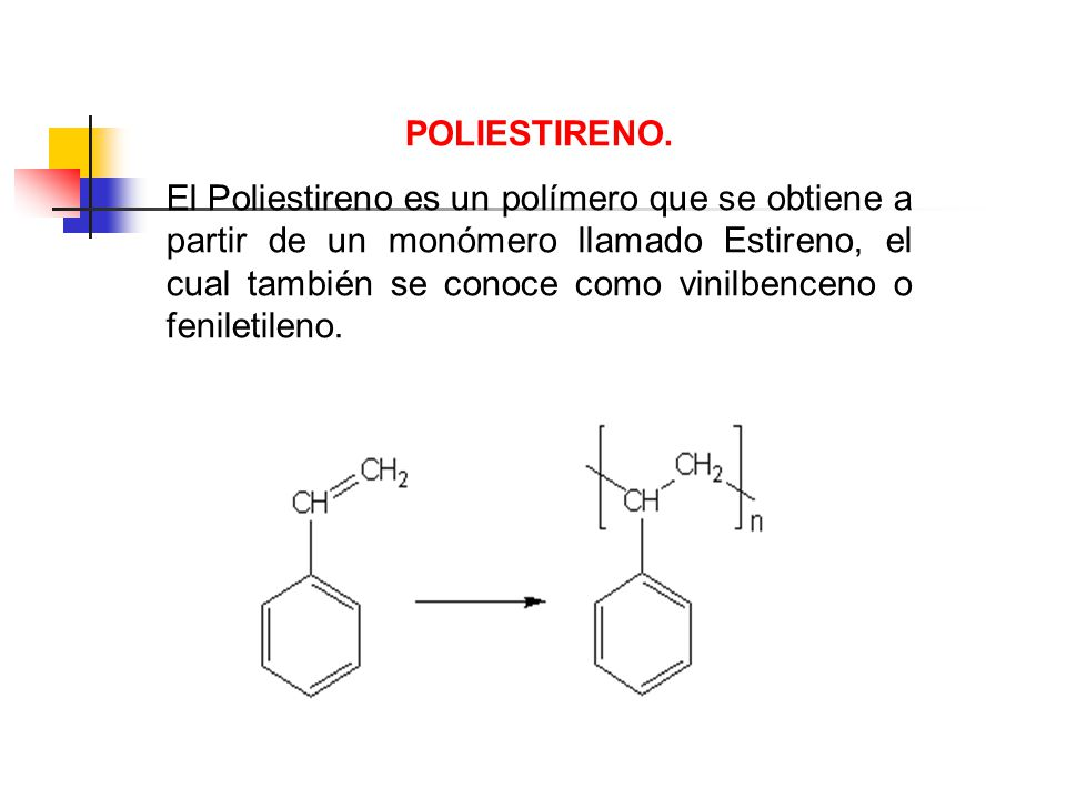 POLIESTIRENO. El Poliestireno es un polímero que se obtiene a partir de un monómero llamado Estireno, el cual también se conoce como vinilbenceno o fe