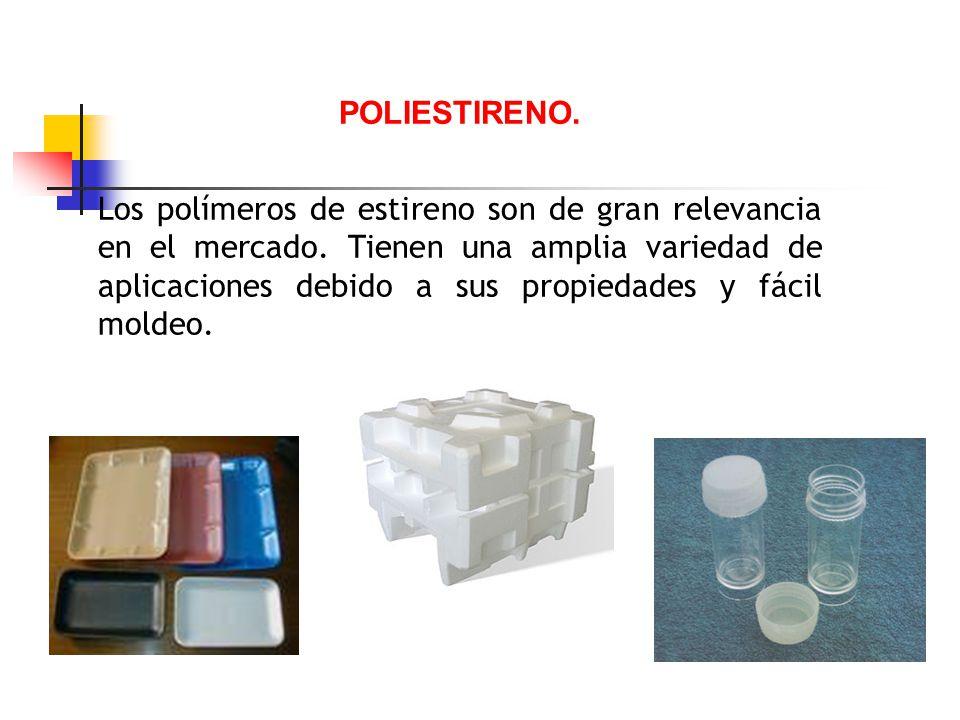 POLIESTIRENO. Los polímeros de estireno son de gran relevancia en el mercado. Tienen una amplia variedad de aplicaciones debido a sus propiedades y fá