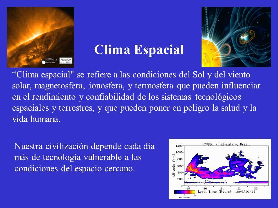 Nuestra civilización depende cada día más de tecnología vulnerable a las condiciones del espacio cercano. Clima Espacial Clima espacial