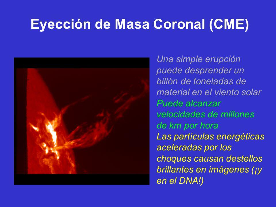 Eyección de Masa Coronal (CME) Una simple erupción puede desprender un billón de toneladas de material en el viento solar Puede alcanzar velocidades de millones de km por hora Las partículas energéticas aceleradas por los choques causan destellos brillantes en imágenes (¡y en el DNA!)