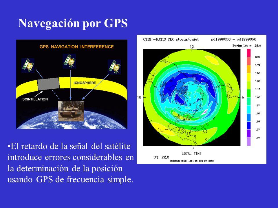 Navegación por GPS El retardo de la señal del satélite introduce errores considerables en la determinación de la posición usando GPS de frecuencia sim