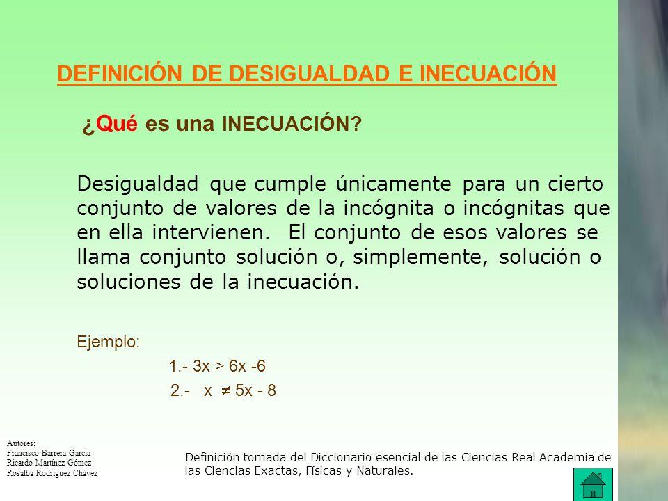 Autores: Francisco Barrera García Ricardo Martínez Gómez Rosalba Rodríguez Chávez DEFINICIÓN DE DESIGUALDAD ¿Qué es una DESIGUALDAD.