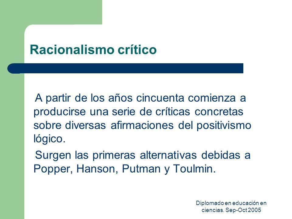 Diplomado en educación en ciencias. Sep-Oct 2005 Racionalismo crítico A partir de los años cincuenta comienza a producirse una serie de críticas concr