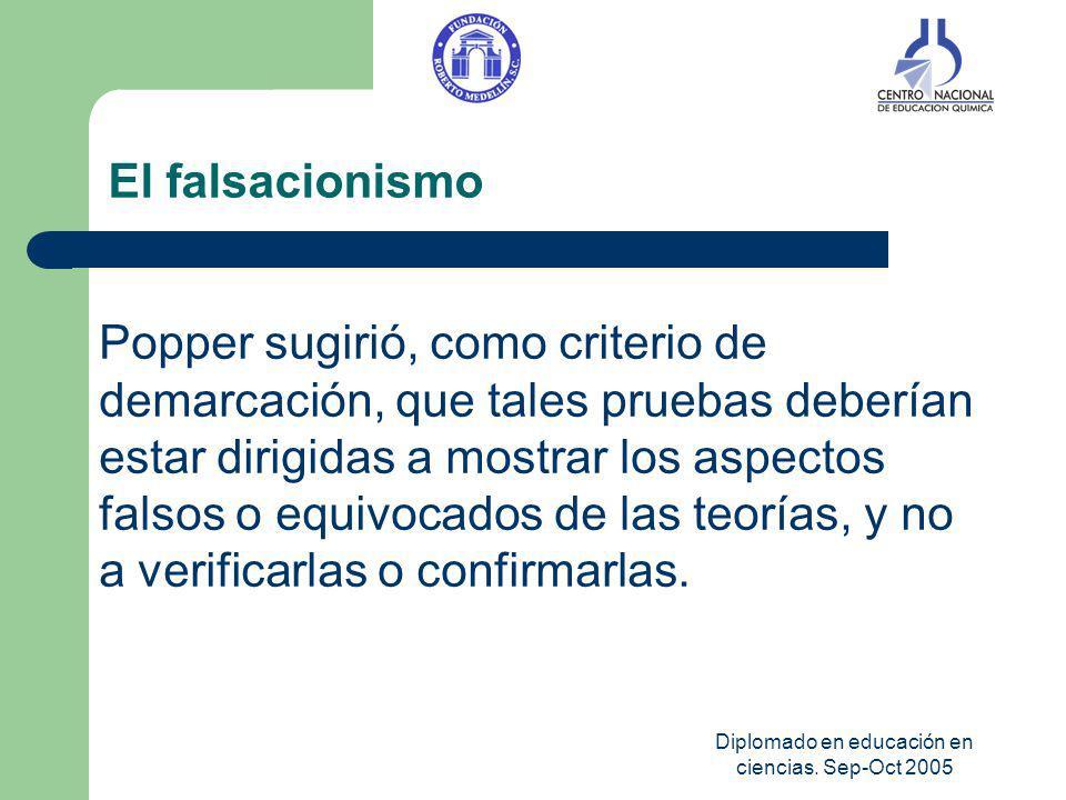 Diplomado en educación en ciencias. Sep-Oct 2005 El falsacionismo Popper sugirió, como criterio de demarcación, que tales pruebas deberían estar dirig